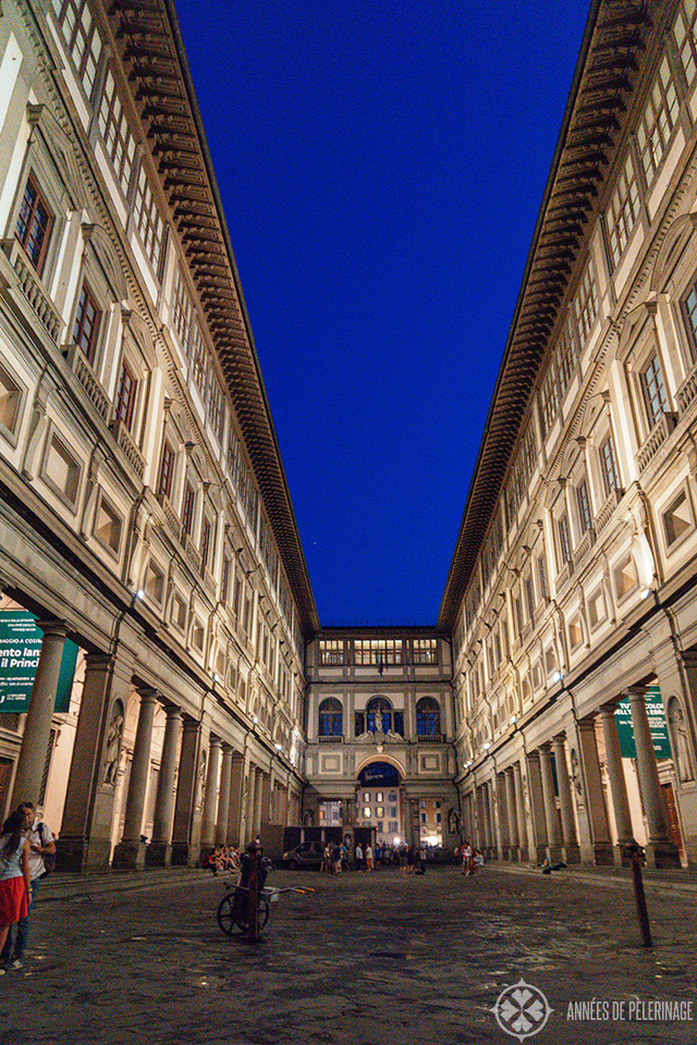 The Uffizi Gallery at night - one of the best things to do in Florence.