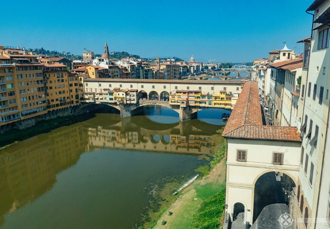 The Ponte Vecchio across the Arno River in FLorence, Italy