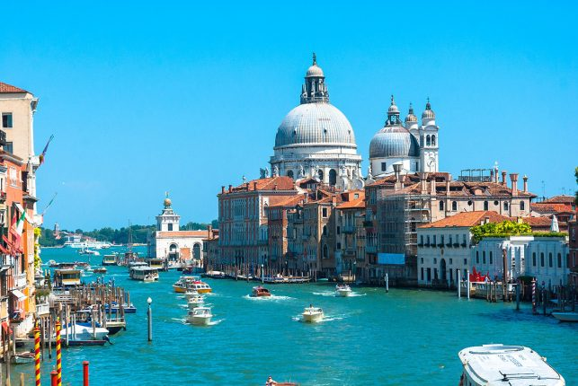 The beautiful panorama of  Basilica di Santa Maria della Salute from the Ponte Dell'Accademia