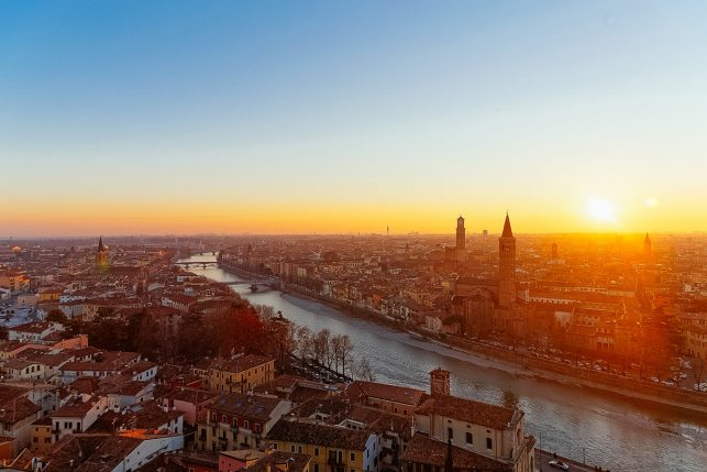 Sunset above the old town of Verona in Italy