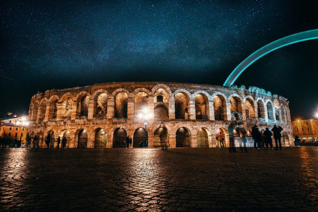 Verona Arena at night - the huge ROman amphiteater frequently hosts opera production
