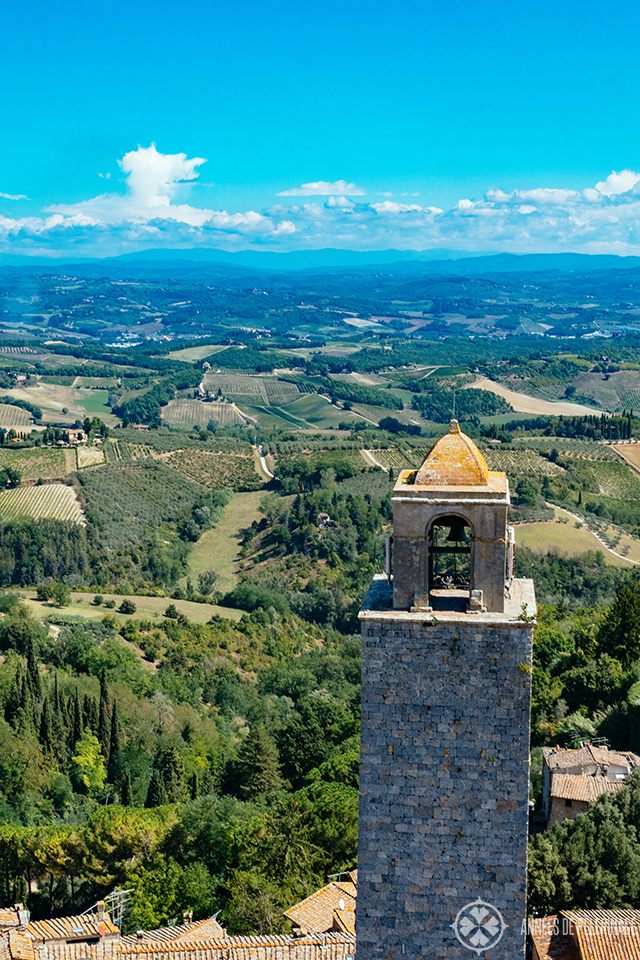 View of Tuscany from a tower in San Gimignano