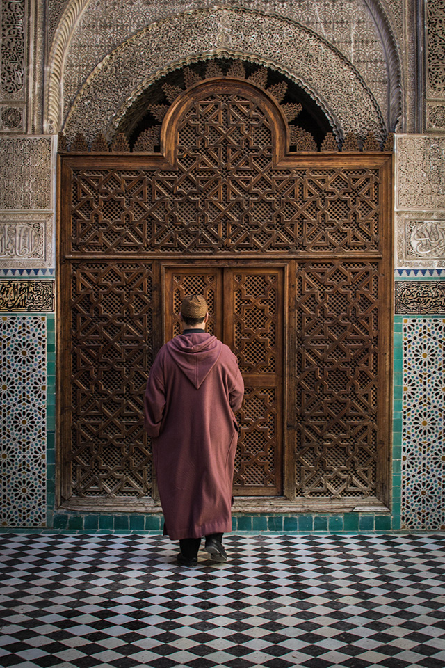 The entrance of the Al-Attarine Madrasa - one of the best things to see in Fez, Morocco