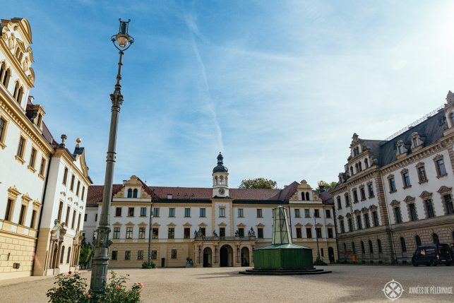The magnificent courtyard of St. Emmeram palace in Regensburg