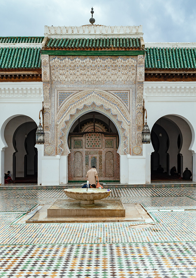A courtyard with a fountain inside the Al-Qarawiyyin University  in Fez