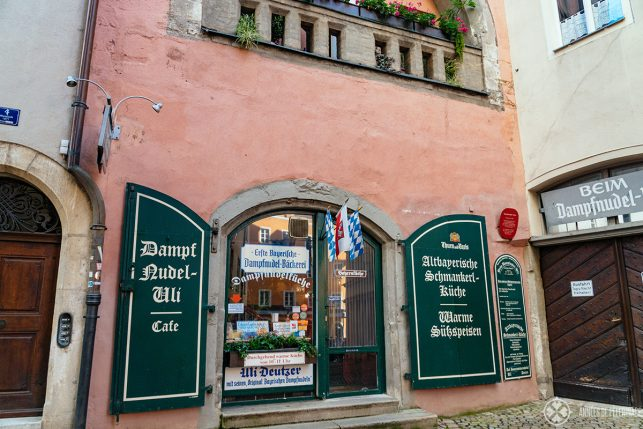 The entrance of the Dampfnudel Uli restaurant - one of the best places to eat in Regensburg