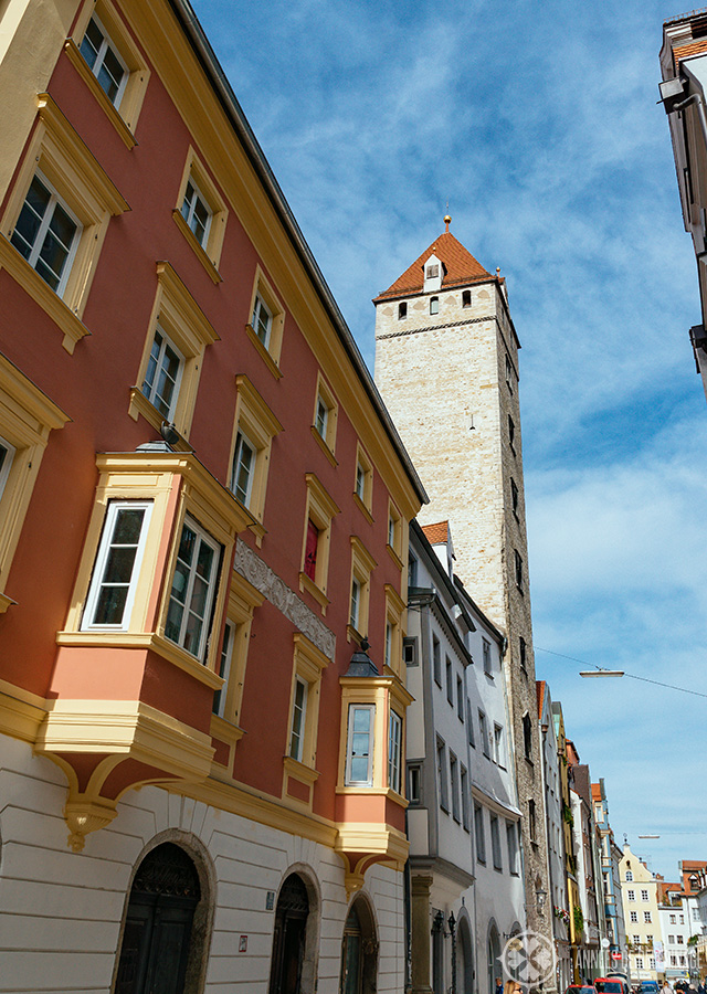 The Golden Tower in the old town of Regensburg
