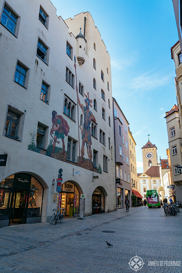 The famous Goliath House with gigantic murals of the biblical combatants in Regensburg