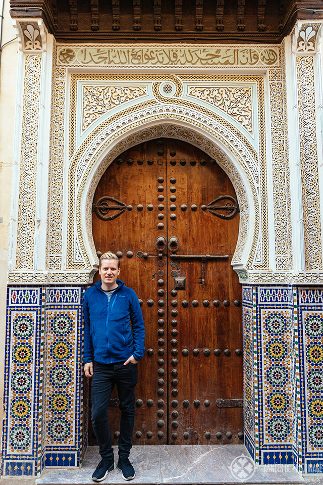 me in front of a door in Fez