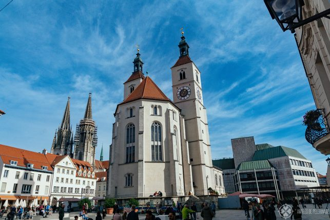 The Neupfarrkirche in the city center of Regensburg, Germany