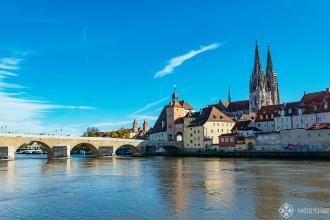 Classic panorama of the Stone Bridge - one of the many free things to do in Regensburg