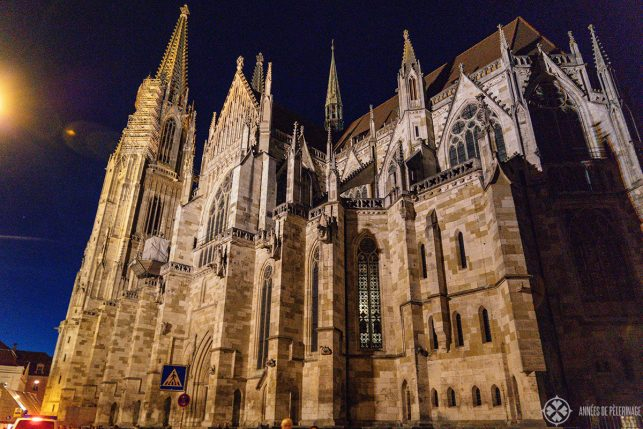 Regensburg Cathedral at night from the backside