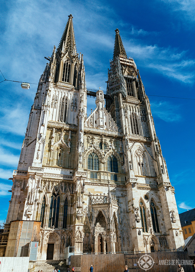 The facade of Regensburg Cathedral with the two neo-gothic towers reaching for the sky