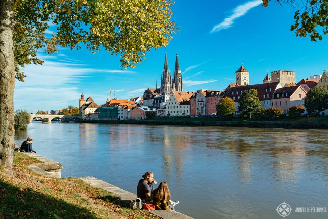 View of Regensburg from the other side of the river Danube where locals like to hang out