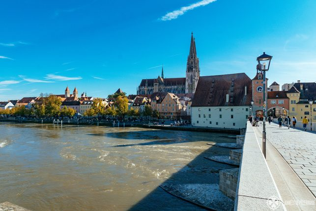 View along the Stone Bridge, steinerne brücke, in regensburg germany