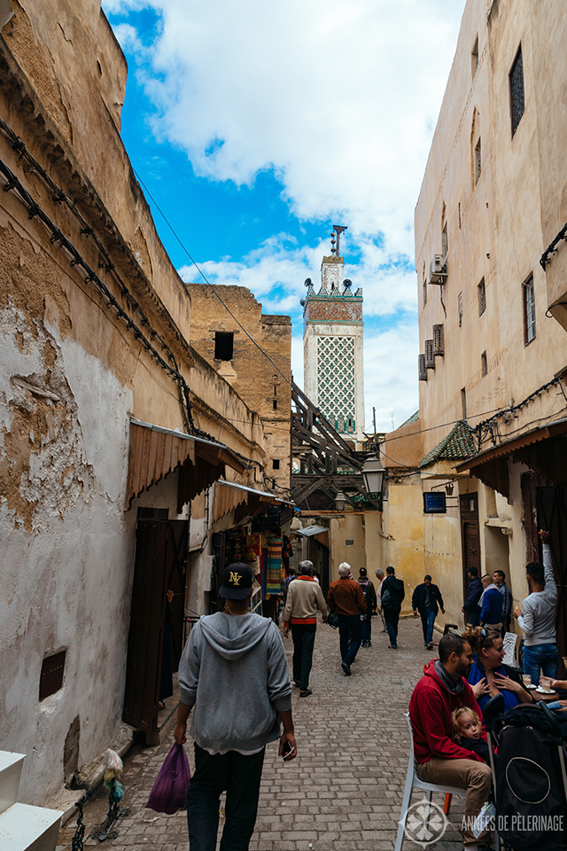 A typical street inside the Fez Medina where you will find many small cafés and shops