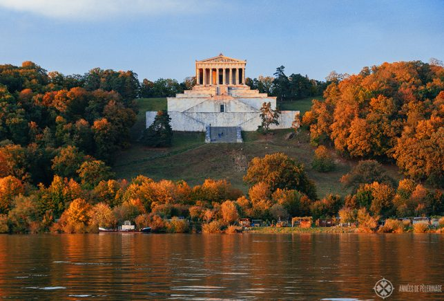 The Walhalla memorial as seen from the other side of the Danube in Autumn