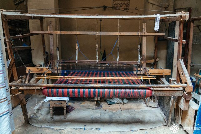 A typical weaving shop inside Fez Medina