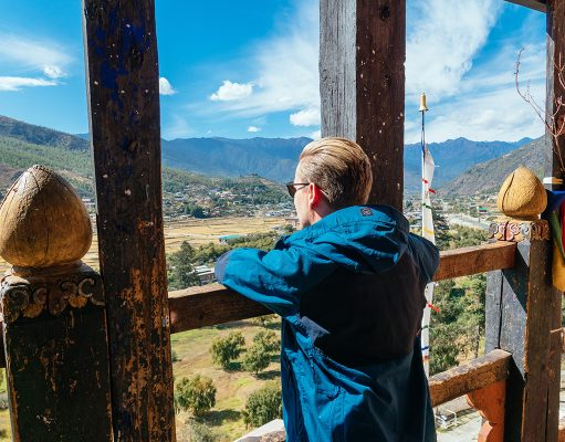 Me looking out at the valley of Paro in Bhutan