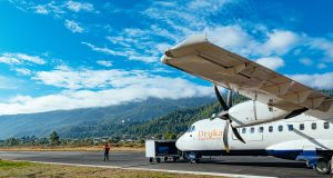 How to get to Bhutan from the US and beyond. The picture shows aA druk air plane in paro airport