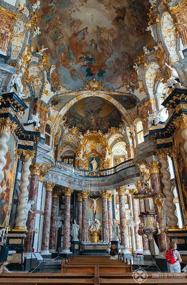 There is a magnificent church inside the Würzburg residence palace called the Allerheiligste Dreifaltigkeits Kirche