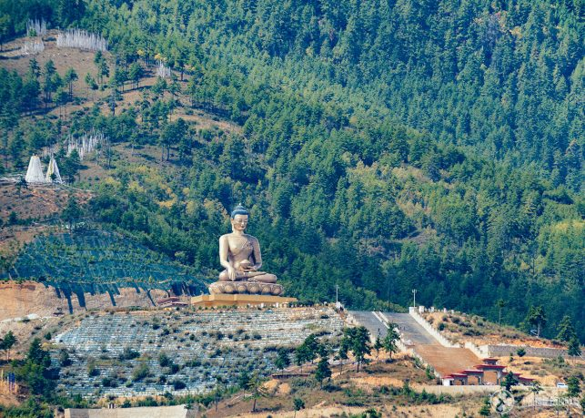 The Buddha Dordenma Statue as seen from the other side of the valley in Thimphu
