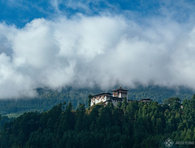 Bumthang Dzongs partially covered in clouds