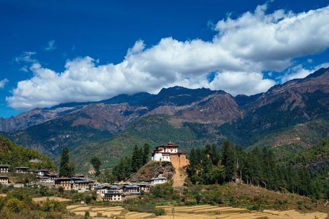 The renovated Drukgyel Dzong in Paro