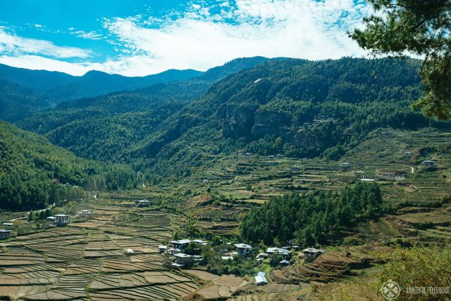 A small fertile valley with Dzongdrakha Monastery hugging the cliffs near Paro, Bhutan