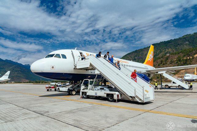 Passengers from Kathmandu to Bhutan debarking their plane