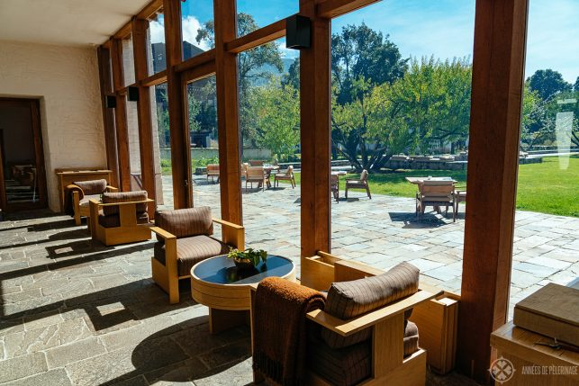 The bar of the lodge on a sunny afternoon