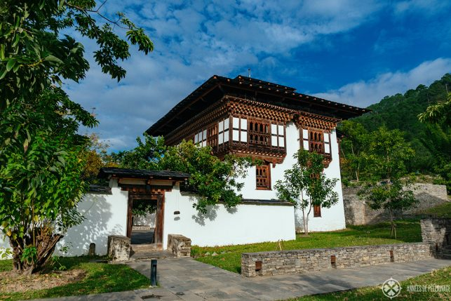 The historic main building of Amankora Punakha