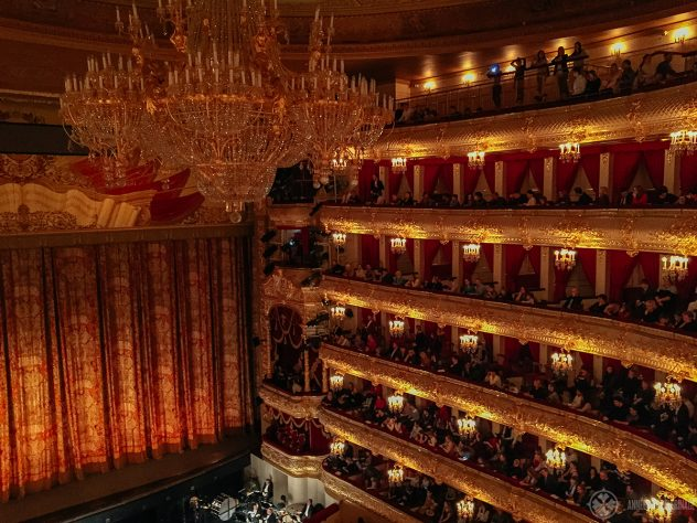 The golden auditorium of the Bolshoi Theater - the best opera house in Russia