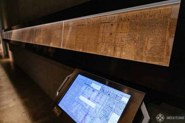The Book of the Death with digital annotations inside the Egyptian Musuem Munich