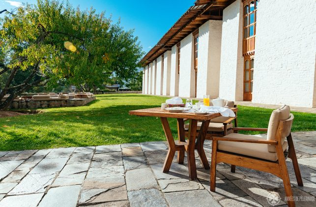 Breakfast in Bumthang lodge on a very sunny day eating outside