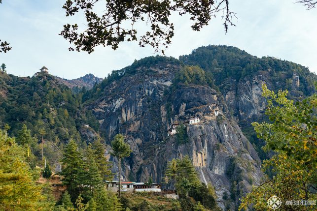 View of the cafeteria and the Taktsang monastery in Paro, Bhutan