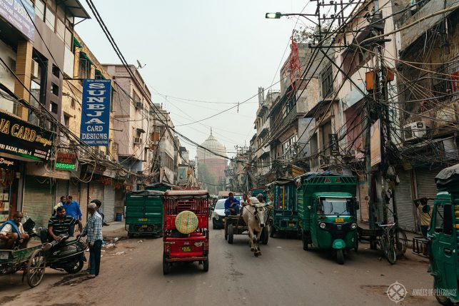 A typical street scene in the Chandni Chowk