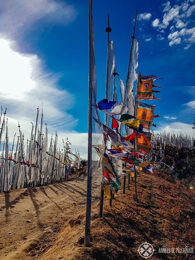 Prayer flags at the top of Chele La Pass near Paro
