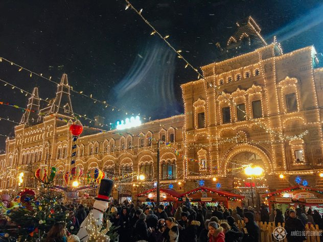 The Christmas market on the Red Square in Moscow, Russia
