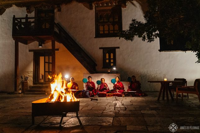 A cultural show in the courtyard before dinner at Aman Punakha