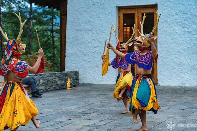 A traditional dance show in the evening at Aman Thimphu, Bhutan