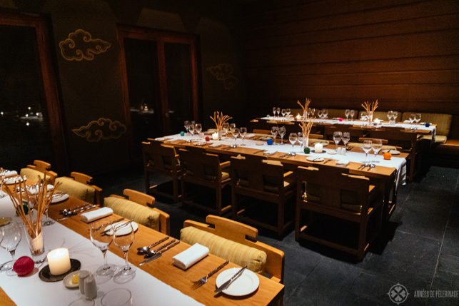 The communal dining area at the Paro lodge