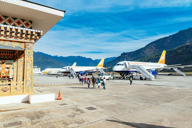The actual size of the DrukAir fleet. 3 planes of the Royal  Bhutan Airlines in Paro Airport, Bhutan
