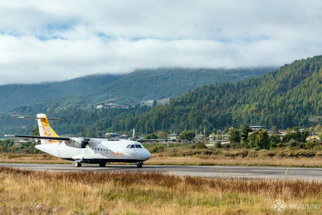 A DrukAir plane landing in Bumthang, Bhutan