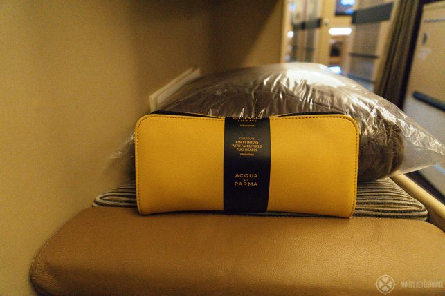 the amenity kit of etihad airways in business class