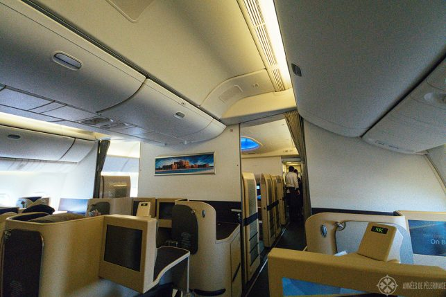 The Etihad business class cabin on the a330-300 (first class is in front)