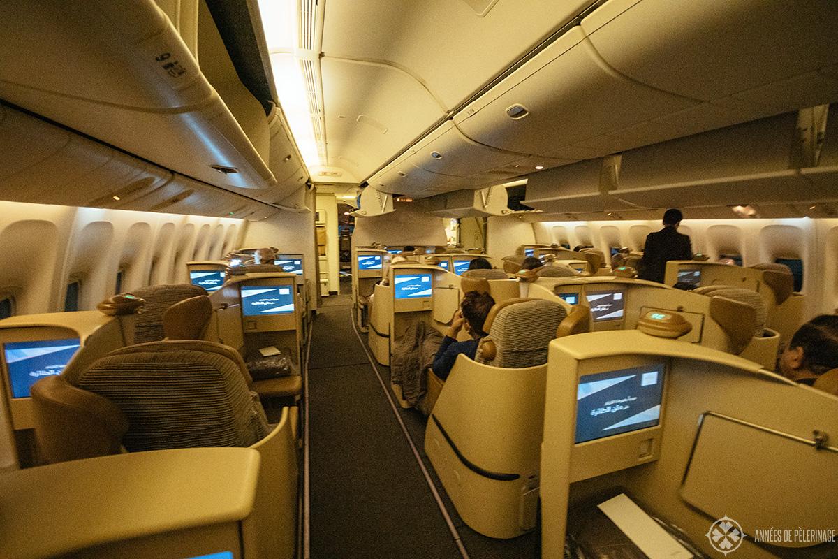 The business class cabin of Etihad airways