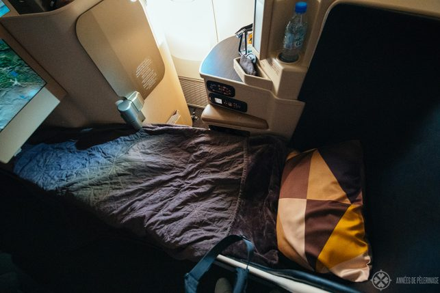 The seat transformed into a lay-flat bed on the etihad business class
