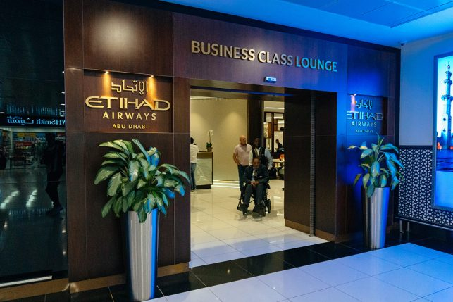 The entrance to the Etihad Business Class Lounge at Abu Dhabi Airport