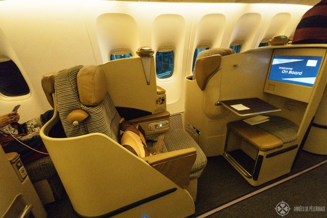 Full view of a standard Etihad business class seat (the newer iteration)